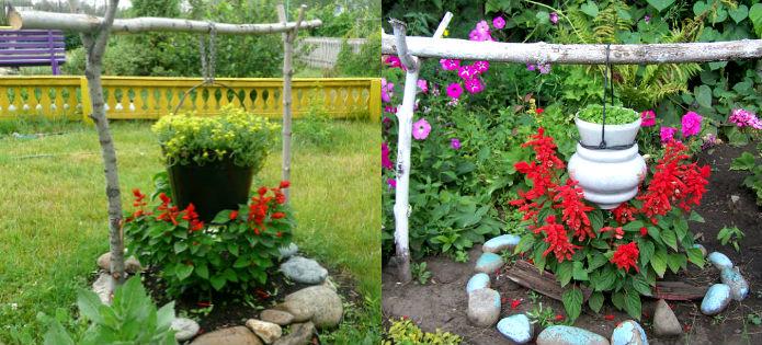 Качели в саду своими руками фото из подручных средств